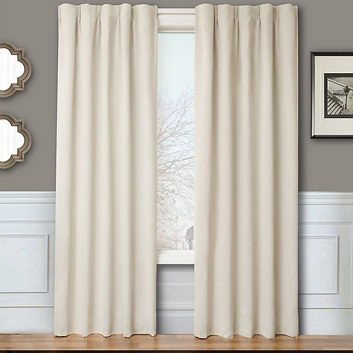 Alternate image 1 for Blackout 84-Inch Window Curtain Panel Pair with Hardware in Natural