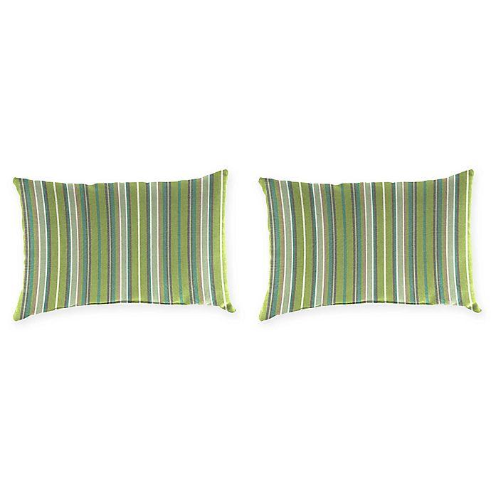Alternate image 1 for Stripe Outdoor Lumbar Throw Pillow in Sunbrella® Fabric (Set of 2)