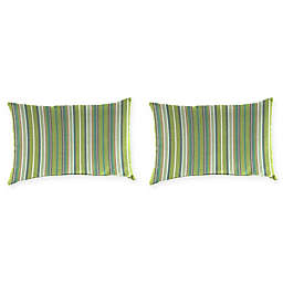 Stripe Outdoor Lumbar Throw Pillow in Sunbrella® Fabric (Set of 2)