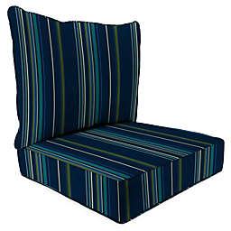 Stripe 24-Inch x 24-Inch 2-Piece Deep Seat Chair Cushion in Sunbrella® Fabric