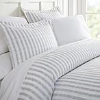 Rugged Stripes King Duvet Cover Set in Light Grey