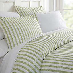 Rugged Stripes 3-Piece King Duvet Cover Set in Sage
