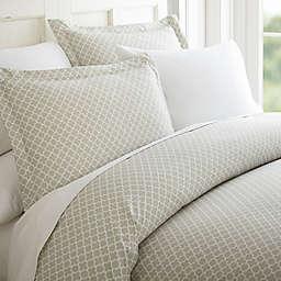 Home Collection Quatrefoil 3-Piece King Duvet Cover Set in Grey