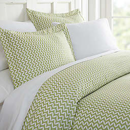 Puffed Chevron 3-Piece Twin Duvet Cover Set in Sage