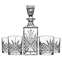 Shannon 5-Piece Crystal Aberdeen Decanter and Double Old Fashioned Glasses Bar Set