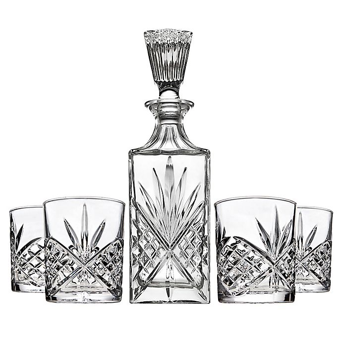 Alternate image 1 for Shannon 5-Piece Crystal Aberdeen Decanter and Double Old Fashioned Glasses Bar Set