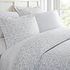 Home Collection Burst Vines Queen Duvet Cover Set in Light Grey