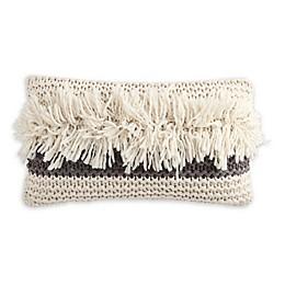 KAS ROOM Kemit Shag Knit Oblong Throw Pillow in Grey