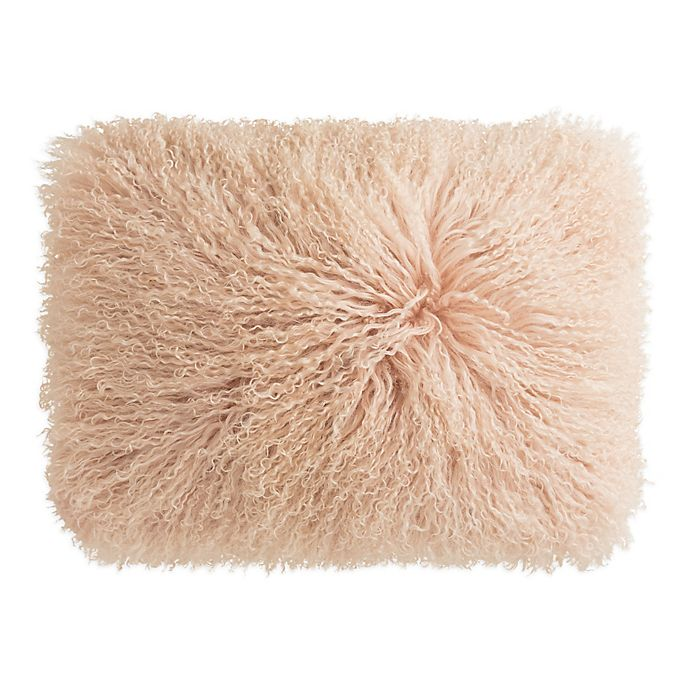 Alternate image 1 for KAS Room Layla Faux Fur Oblong Throw Pillow in Blush