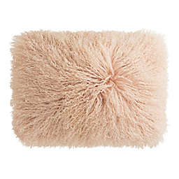 KAS Room Layla Faux Fur Oblong Throw Pillow in Blush