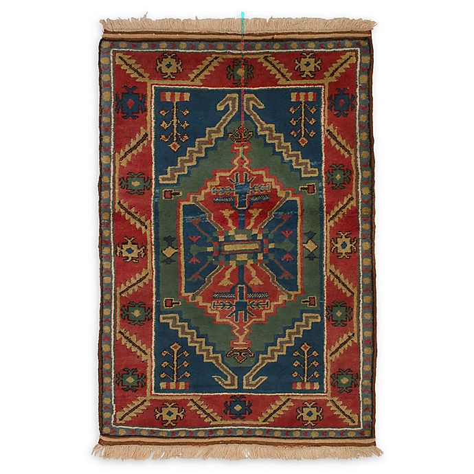 Alternate image 1 for ECARPETGALLERY Antique Shiravan 3'9 x 5'7 Hand-Knotted One of a Kind Rug in Blue/Red