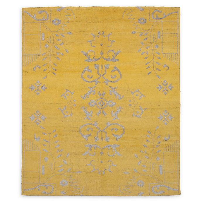 Alternate image 1 for ECARPETGALLERY La Seda 8' x 9'7 Hand-Knotted One of a Kind Rug in Gold