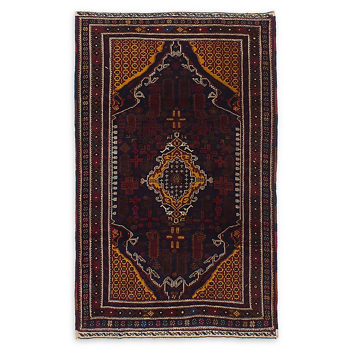 Alternate image 1 for ECARPETGALLERY Rizbaft Hand-Knotted 4'2 x 6'10 One of a Kind Rug in Red/Dark Navy