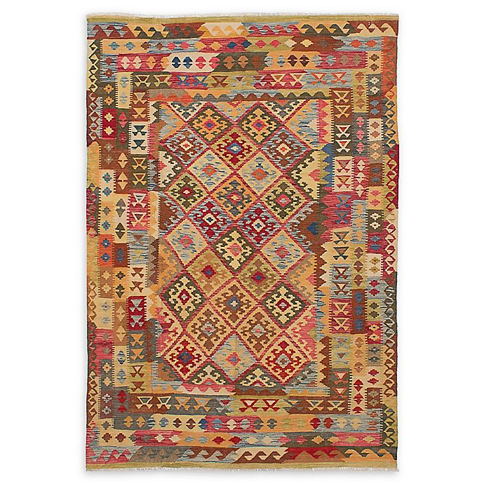 Alternate image 1 for ECARPETGALLERY Sivas 6'7 x 9'10 Hand-Woven One of a Kind Rug in Light Gold/Red