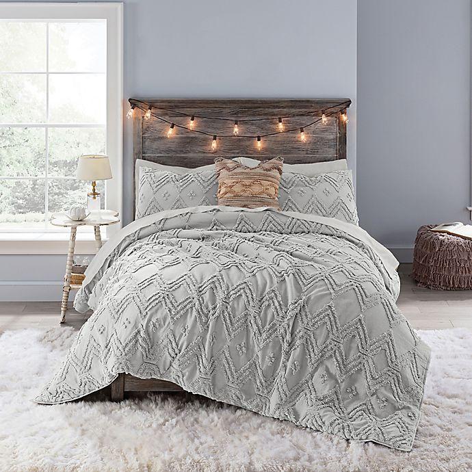 buy anthology chevron tufted full comforter set in light grey from bed bath beyond. Black Bedroom Furniture Sets. Home Design Ideas