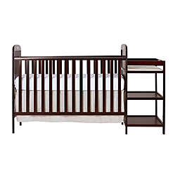 Dream On Me Anna 4-in-1 Convertible Crib and Changing Table Combo in Cherry