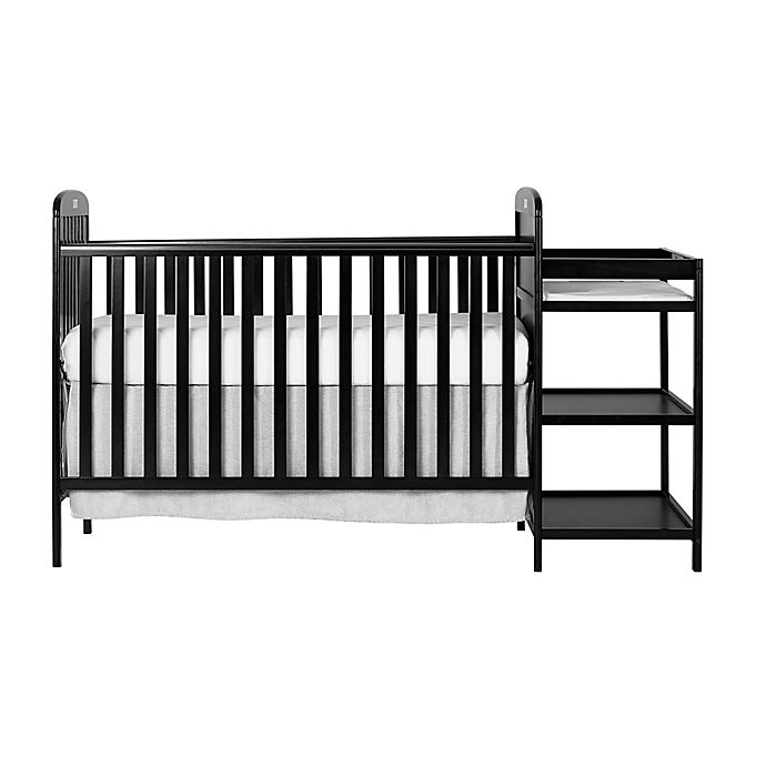 Alternate image 1 for Dream On Me Anna 4-in-1 Convertible Crib and Changing Table Combo in Black