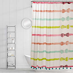 Simply Whimsical Ribbons and Bows Shower Curtain in Red/Pink