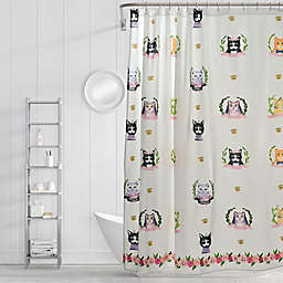 Simply Whimsical Pretty Kitty Shower Curtain in Blue/Orange