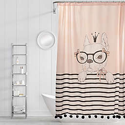 Simply Whimsical Princess Pup Shower Curtain in Pink