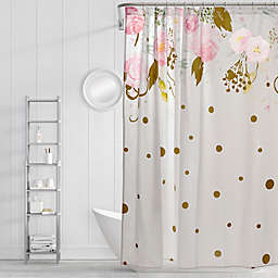 Simply Whimsical Floral Confetti Shower Curtain In Blush Gold