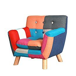 Jacey Kids Patchwork Swivel Armchair in Multi