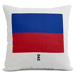 E by Design Letter E Nautical Stripe Square Throw Pillow in Red