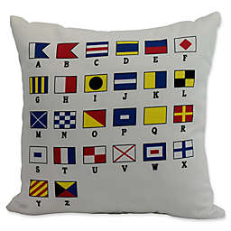 E by Design Alphabet Nautical Square Throw Pillow in Red
