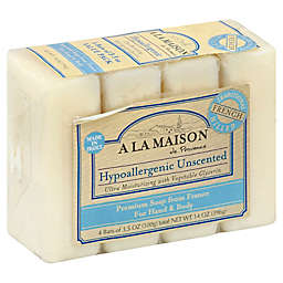 A La Maison 4-Pack Hypoallergenic Unscented Bar Soap for Hand & Body