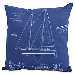 E by Design Sail Plan Square Throw Pillow in Blue