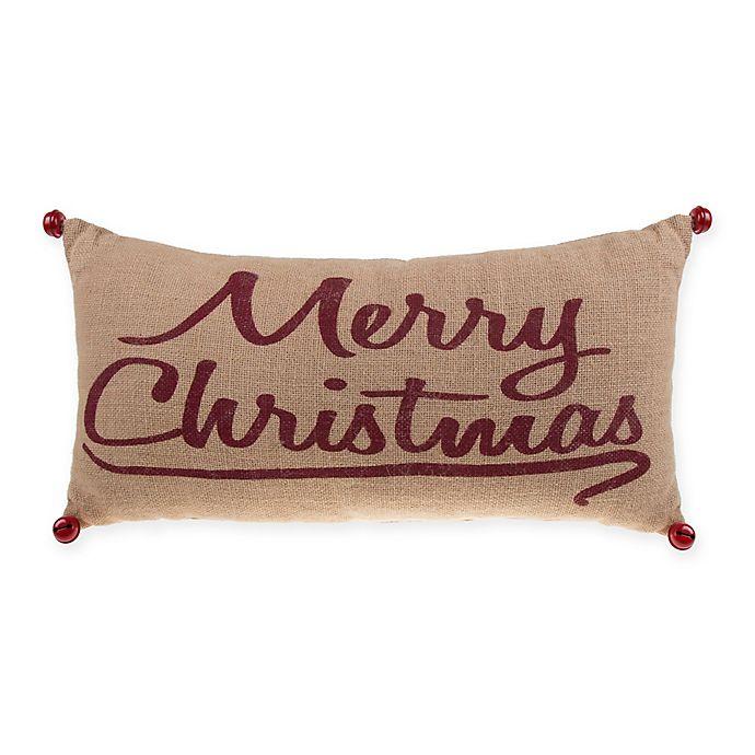 Merry Christmas Burlap Rectangular Throw Pillow in Red | Bed ...