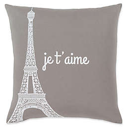 "Surya ""je t'aime"" Motto Novelty Square Throw Pillow in Brown/Ivory"