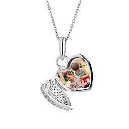 With You Lockets Carly Sterling Silver White Topaz 18-Inch Chain Photo Locket Necklace