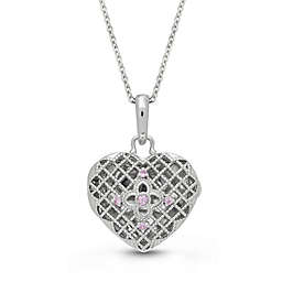 With You Lockets Isabel Sterling Silver Pink Sapphire 18-Inch Chain Photo Locket Necklace