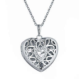 With You Lockets Katharine Sterling Silver White Topaz 18-Inch Chain Photo Locket Necklace