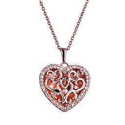 With You Lockets Mary Rose Gold-Plated White Topaz 18-Inch Chain Photo Locket Necklace