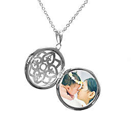 With You Lockets Elsie Sterling Silver White Topaz 18-Inch Chain Photo Locket Necklace
