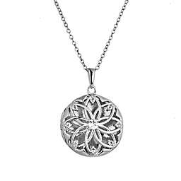 With You Lockets Helen Sterling Silver White Topaz 18-Inch Chain Photo Locket Necklace