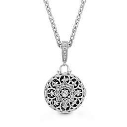 With You Lockets Sterling Silver Bea .14 cttw Diamond Locket Necklace