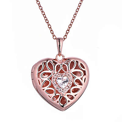 With You Lockets Katharine Rose Gold Plated White Topaz Heart Locket Necklace