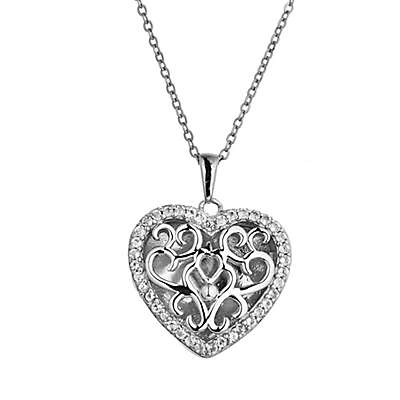 With You Lockets Mary Rose Gold-Plated White Topaz Filigree Locket Necklace