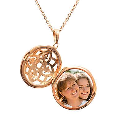 With You Lockets Elise Rose Gold-Plated White Topaz Filigree Locket Necklace