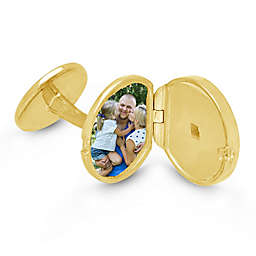 With You Lockets Ryan Yellow Gold-Plated Photo Locket Cufflinks