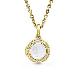 With You Lockets Mickey 14K Gold-Plated 0.22 cttw Diamond 18-Inch Chain Photo Locket Necklace