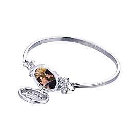 With You Lockets Aubrey Sterling Silver Oval Locket Bangle