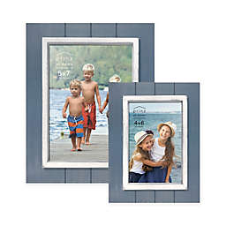 Prinz Coastal Grooved Wood Plank Picture Frame In Blue
