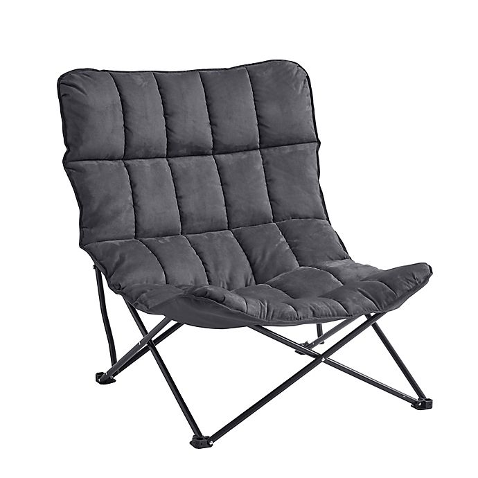 Pleasing Quilted Oversized Folding Lounger In Grey Andrewgaddart Wooden Chair Designs For Living Room Andrewgaddartcom