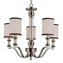 Bel Air Lighting Montclair Art Deco 5-Light Chandelier in Brushed Nickel