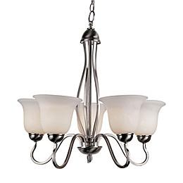 Bel Air Lighting Glasswood 5-Light Chandelier in Brushed Nickel
