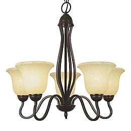 Bel Air Lighting Glasswood 5-Light Chandelier in Rubbed Oil Bronze